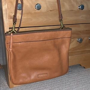 Fossil light brown leather side bag